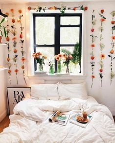 Flowers hanging on the wall, Bohemian bedroom wall decor ideas, Boho bedroom dec. Flowers hanging on the wall, Bohemian bedroom wall decor ideas, Boho bedroom decor Urban Bedroom, Bedroom Inspo, Bedroom Wall, Bedroom Ideas, Cozy Bedroom, Scandinavian Bedroom, Bedroom Designs, Bedroom Apartment, Budget Bedroom
