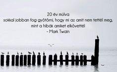 év múlva sokkal jobban fog gyötörni, hogy mi az, amit nem tettél meg, mint a… Words Quotes, Qoutes, Life Quotes, Sayings, Mark Twain, One Life, Motto, Karma, Inspirational Quotes