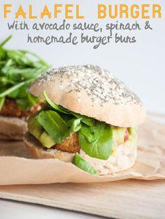 Vegan Falafel Burger with avocado sauce, spinach & homemade burger buns | Elephantastic Vegan