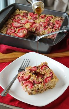 Strawberries & Cream Baked Protein Oatmeal