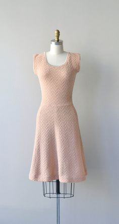 Ballet Pink knit dress vintage 1950s dress wool by DearGolden