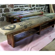 Coffee sack & reclaimed wood bench by Recycled Brooklyn