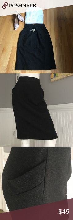 Donna Karan Cashmere Skirt This is the most luxuriously soft cashmere skirt. The color is a sophisticated anthracite grey, the cut is a classic pencil with finely crafted back slits and pockets. Waist is higher. The size says 6 but - measurements before size tag- this fits like a size 2 - 4! I will list as such to avoid mishaps.Waist flat 13.5, Hips 17, Length 26. I adore it, but so sadly its way too small for me. By Donna Karan New York, her premier label.She also makes the lower priced…