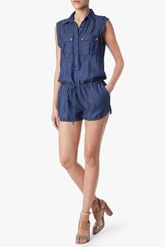 Denim Military Romper in Radiant Indigo Blue
