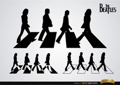 Set of The Beatles Abbey Road silhouettes with 3 different combinations of black and white colors. These are nice designs to use in any digital material for fans or in t-shirts, posters, etc. High quality JPG included. Under Commons 4.0. Attribution License.