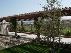 arbor over a bocce ball court Spring Landscape, House Landscape, Green Landscape, Gazebos, Arbors, Mykonos, Fresco, Bocce Ball Court, Diy Yard Games