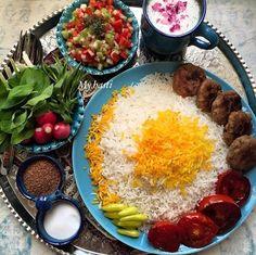 Falafel with rice, Iranian food Desserts Around The World, Iran Food, Iranian Cuisine, Breakfast Platter, Food Garnishes, My Best Recipe, Middle Eastern Recipes, Arabic Food, Food Design