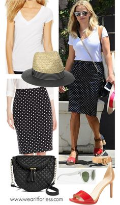Reese Witherspoon in a black and white polka dot skirt, white tee, and red ankle strap heels - get the look for less! www.wearitforless.com