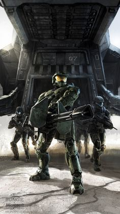 Halo 3 Concept Art by Isaac Hannaford Halo Game, Halo 3, Video Game Art, Video Games, Science Fiction, Halo Armor, Halo Spartan, Xbox, Halo Master Chief