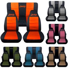Will design them for any 1987 to 2018 Jeep Wrangler (YJ/TJ/JK. Jeep Wrangler Seat Covers with Jeep. A Full Set of Front & Rear. Jeep Wrangler Yj, Jeep Jk, Auto Jeep, Orange Jeep Wrangler, Jeep Rubicon, Jeep Renegade, Accessoires De Jeep Wrangler, Accessoires Jeep, Jeep Seats