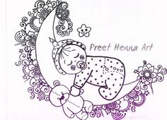 Here is my new doodle art for pregnant belly..Moon+Sleepy baby+Teddy bear ♥...what you think please comments :)