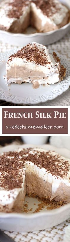 French Silk Pie is creamy and chocolatey, with a graham cracker crust base, a chocolate filling, topped with whipping cream and shaved chocolate.