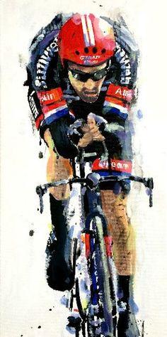 Rob Ijbema. < Tom Dumoulin. Giro d'Italia 2016, 1^Tappa > Acrilico su tela 30x60 cm, 2016