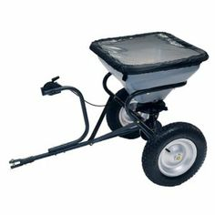Precision Products TBS5010OS Broadcast Commercial 100 pound Tow Behind Lawn Spreader by Precision Products. $189.99. Protective cover included. 10-foot to 12-foot spread pattern. Holds up to 100 lbs of material. Steel gear box with exposed grease fittings. 16-inch pneumatic tires. This tow Behind broadcast spreader holds up to 100 lbs of material with a 10-foot to 12-foot spread pattern. 16-inch pneumatic tires and a steel gearbox with exposed grease fitting for easy m...
