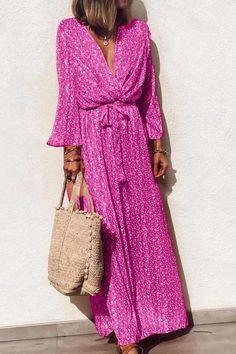 2019 Summer Printed Maxi Dresses Women V Neck Long Sleeve Beach Dress Print A-Line Sashes Boho Sundress Vestidos Trendy Dresses, Elegant Dresses, Casual Dresses, Maxi Dresses, Beach Dresses, Floral Dresses, Long Sleeve Maxi, Maxi Dress With Sleeves, Dress Brands