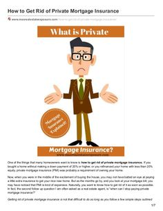 See how to stop paying private mortgage insurance. Private mortgage insurances is for a lenders benefit when a homeowner is putting less than a 20 percent down payment: http://www.slideshare.net/massrealty/how-to-stop-paying-private-mortgage-insurance