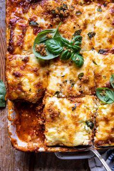 Spicy Zucchini Ricotta Lasagna with Oregano Breadcrumbs | halfbakedharvest.com Baked Greek Chicken, Italian Chicken Sausage, Vegetarian Recipes, Cooking Recipes, Healthy Recipes, Weeknight Recipes, Pasta Recipes, Homemade Marinara, Pizza