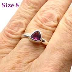 Ring Pink Tourmaline Faceted Trillian    Natural Gemstone AKA Rubellite   925 Silver   US Size 8   Energise Loving Compassion   Crystal Heart Australia since 1986
