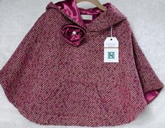 Gift Idean -Ready to Ship Poncho, Toddler Poncho, Girls Poncho, Plum Herringbone Wool Blend Girls Poncho