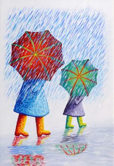 """Umbrellas in the Rain"" - Phil Lyons Rain Painting, Spring Painting, Spring Art, Painting For Kids, Umbrella Art, Walking In The Rain, Guache, Elementary Art, Art Pictures"
