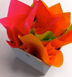 Napkin flowers Napkins, Container, Decorations, Tableware, Tips, Flowers, Ideas, Food, Dinnerware
