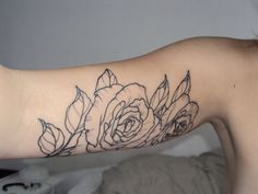rose tattoo, no color, black & white, simple