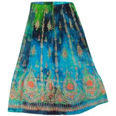 Odishabazaar Womens Long Skirt Multicolor Rayon Sequin Maxi Elastic... (955 THB) ❤ liked on Polyvore featuring skirts, long sequin maxi skirt, colorful maxi skirts, blue sequin skirt, multi color maxi skirt and sequin maxi skirt
