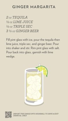 Ginger Margarita, created with Highball. Tequila Drinks, Wine Cocktails, Classic Cocktails, Cocktail Drinks, Alcoholic Drinks, Margarita Tequila, Sweet Cocktails, Cocktail Recipes, Drink Bar