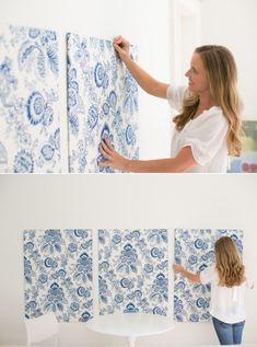master bedroom // DIY Fabric _or_ Wallpaper Wall Panels Fabric Wall Panels, Fabric Wall Decor, Diy Headboards, Shabby Fabrics, Fabric Wall, Diy Wall, Diy Fabric, Bedroom Diy, Wall Paneling