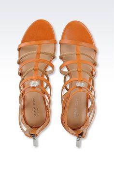 7d26e90b2 Sandale Für Sie Armani Jeans - FLACHE SANDALEN AUS LEDER UND SCHNUR Armani  Jeans Offizieller Online Store