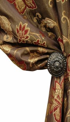 Tuscan Style Kitchen Curtains Window Treatments | Trina Floral on Copper More