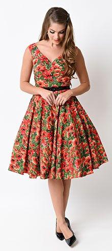 1950s Red Poppy Saturday Night Swing Dress