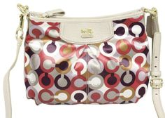 $129.99  Gorgeous and chic Coach Signature swingpack in cherry multi color. Carry all your essentials in this eye catching and cute purse. Great for shopping, travel, and having fun.