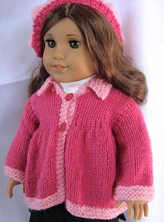 free download Ravelry - Spring Flared Sweater for American Girl doll.