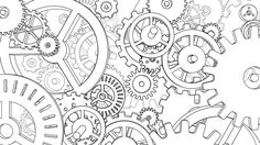 cogs and gears drawing Steampunk Drawing, Steampunk Kunst, Steampunk Gears, Gear Drawing, Clock Drawings, Steampunk Patterns, Gear Tattoo, Gear Art, Cogs