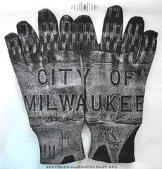 Wrist-length Work Gloves II - Printed at Soar Studios, Milwaukee Fox Lake, Work Gloves, Milwaukee, Fingerless Gloves, Arm Warmers, Spirit, Prints, Wisconsin, Mall