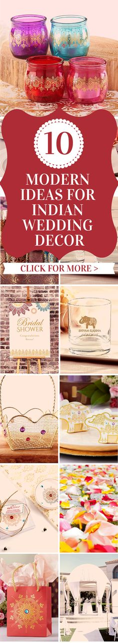 "Honor your partner's Indian heritage with a modern chic twist and decorate the wedding of your dreams! Read more in our latest blog post: ""10 Modern Ideas For Indian Wedding Decor"" Modern Wedding Favors, Indian Wedding Favors, Indian Wedding Planner, India Wedding, Wedding Ideas, Wedding Inspiration, Spring Wedding Decorations, Summer Wedding Colors, Reception Decorations"