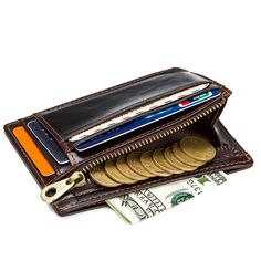 Leather Wallet RFID Blocking ID Credit Card holder Minimalist Slim Men's Purse Cash Wallet, Rfid Wallet, Credit Card Wallet, Credit Cards, Cow Leather, Cowhide Leather, Man Purse, Minimalist Wallet, Id Holder