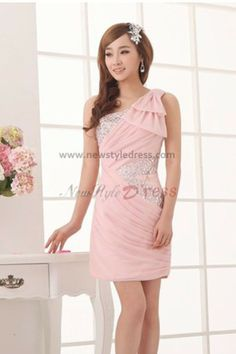 Hand beading One Shoulder Draped Sheath Above Knee Pink Glamorous Cocktail dresses nm-0026