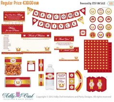 Instant Download!!!    Royal Gold Red Little Prince Baby Shower EXTENDED party Printable Kit for boy.    The Prince Baby Shower kit includes(all pdf files):  - Bingo Game card (5x7 two on one paper sheet)  - Words of Wisdom (5x7 two on one paper sheet)  - Wishes for Baby (5x7 two on one paper sheet)  - Little Prince diaper raffle - 10 diaper on one paper sheet.  - Thank you card(3.5 x 5) with note and a blank one. 4 per page.  - Tiny notes card (blank) (can be used as MENU, etc). 3,1 x 2,3…