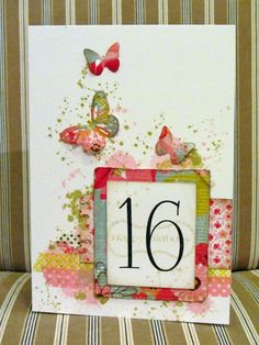 My daughter's 16th birthday card, made with paper scraps, washi tape and distress inks. Lovin' it...! Lizard Cards.