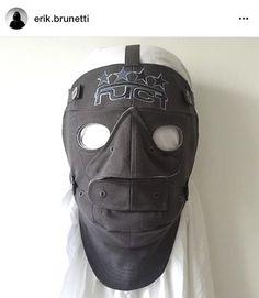 Mask sculpture constructed by vintage FUCT caps by Shin Murayama Via Erik Burunetti