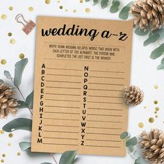 Wedding A to Z Game, Bridal Shower Games Printables, Bridal Shower Game Idea, Bridal Shower Instant Princess Party Games, Bridal Party Games, Engagement Party Games, Wedding Shower Games, Bachelorette Party Games, Wedding Games, Shower Party, Wedding Planning, Best Bridal Shower Games