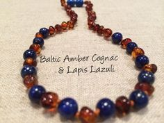 ADHD Teething Inflammation Polished Cognac Lapis Lazuli Baltic Amber Necklace for Baby, Infant, Toddler, Big Kid.