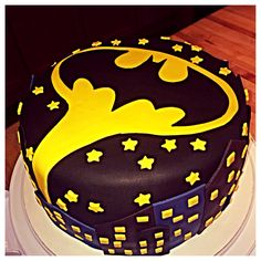 Batman cake- Bat symbol over Gotham City