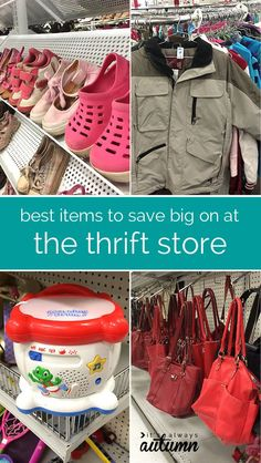 how to save money at the thrift store - tips and tricks for getting the best deals! these are the things I ALWAYS buy at the thrift store, saving hundreds of dollars a year.