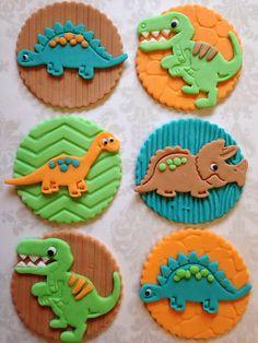 12 Dinosaur Cupcake Toppers Edible Fondant by FondantandFrosting