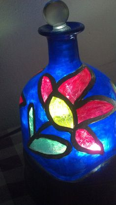 Stained Glass Cobalt Blue Patron Tequila Hand by PattiesPassion, $35.00