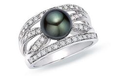 BLACK TAHITIAN CULTURED PEARL AND 1/3 CARAT DIAMOND 14K WHITE GOLD RING