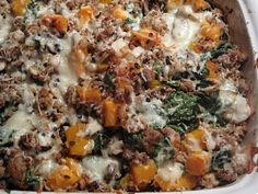 "Simply Healthy Family: WIld Rice and Roasted Butternut Squash Casserole.purée squash next time and add spices to that. Needed a binder to seem more like a ""casserole. Butternut Squash Casserole, Roasted Butternut Squash, Pumpkin Casserole, Turkey Casserole, Healthy Snacks, Healthy Eating, Healthy Recipes, Healthy Cooking, Yummy Recipes"